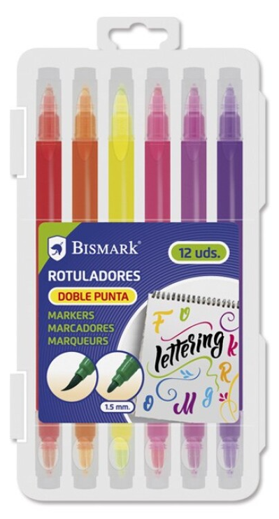 Rotulador lettering doble punta 6 colores